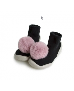 CHAUSSONS POMPON ROSE